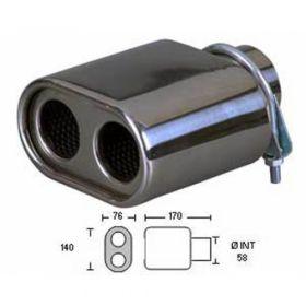 Auspuffblende universal Edelstahl 140x76mm Anschluss 42-56mm